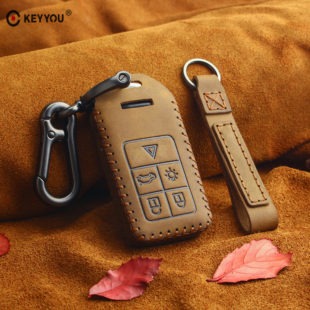 Genuine Leather Car Key Case Key Cover For Volvo S60 S80 V60 XC60 XC70 S60L V40 XC90 Car Keychain Remote Control Case 5 Buttons