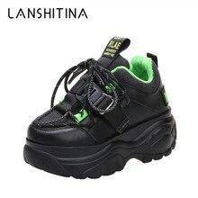 Женские кроссовки на платформе; зимние Бархатные Теплые ботинки на шнуровке для папы; повседневная обувь с высоким берцем на толстой плоской подошве; женские криперы