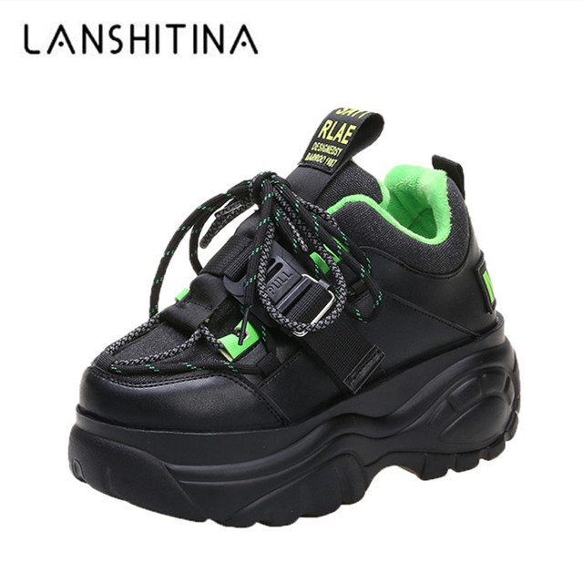$ US $21.51 Women Platform Sneakers Lace-up Winter Velvet Keep Warm Dad Shoes High Top Chunky Casual Shoes Thick Bottom Flats Ladies Creeper