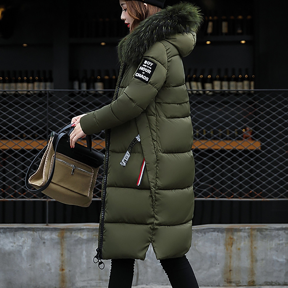 Coat Jacket Cotton-Suit Thickened Long Winter Women Medium Casual Solid Big Hair-Collar title=