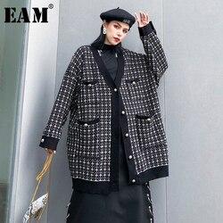 [EAM] zwarte plaid big size Breien Vest Trui Losse Fit V-hals Lange Mouw Vrouwen Nieuwe Mode Herfst Winter 2019 1K356
