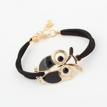 Exquisite 4-Color Owl Black Flannelette Bracelet Creative Elegant Women's Party Accessories Fashion Cute Girl Jewelry Gifts