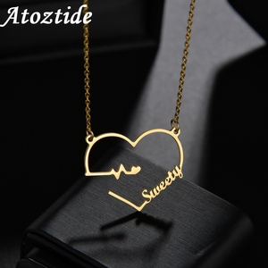Atoztide 2020 New with Personalized Name Necklaces for Women Heartbeat Nameplate Jewelry Stainless Steel Custom Letter Necklace