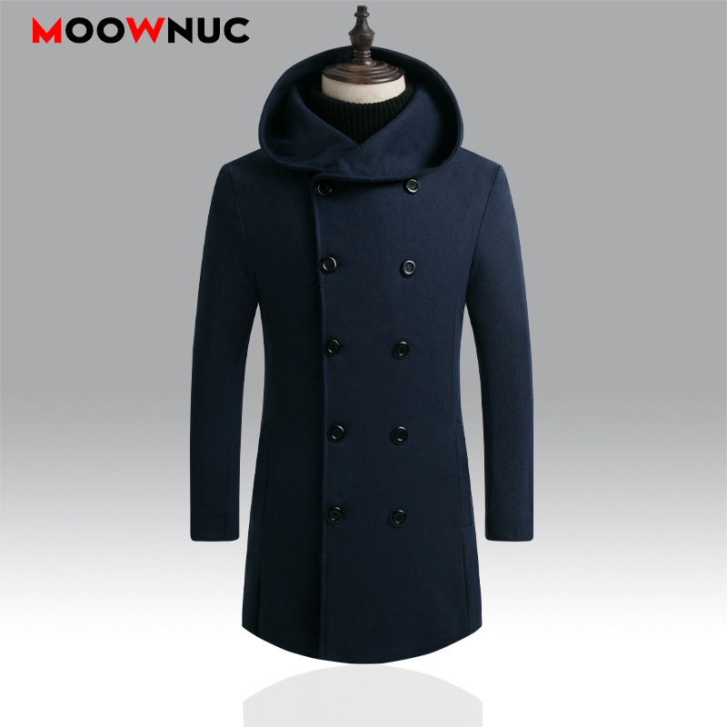Woollen Men's Coats Thick Winter Autumn Windbreaker Solid Male Overcoat Fashion Business Smart Casual British Style Long Thermal