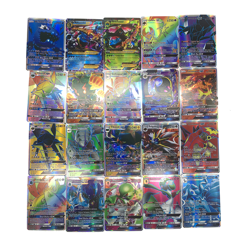Takara Tomy Pokemon 300PCS GX  Flash Cards EX Cards Classic Plaid Flash Pokemon Card Collections Christmas Gifts Kids Toy