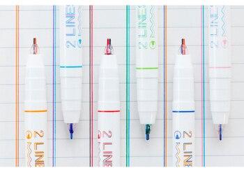 2 líneas punta resaltador para dibujar escritura color rojo azul marca arte bolígrafos scrapbooking papelería oficina escuela EB768