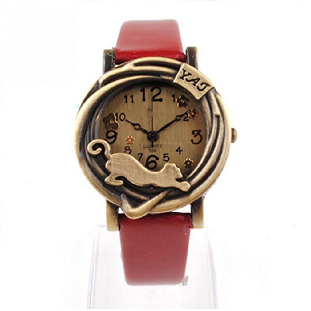 New 1PC Retro Women's Bracelet Watches Leather Strap Ladies Dress Quartz Wristwatches Clock Women