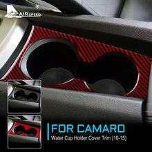 Velocidade do ar para chevrolet camaro 2010 2011 2012 2013 2014 2015 acessórios de fibra carbono interior guarnição do carro suporte copo água adesivo