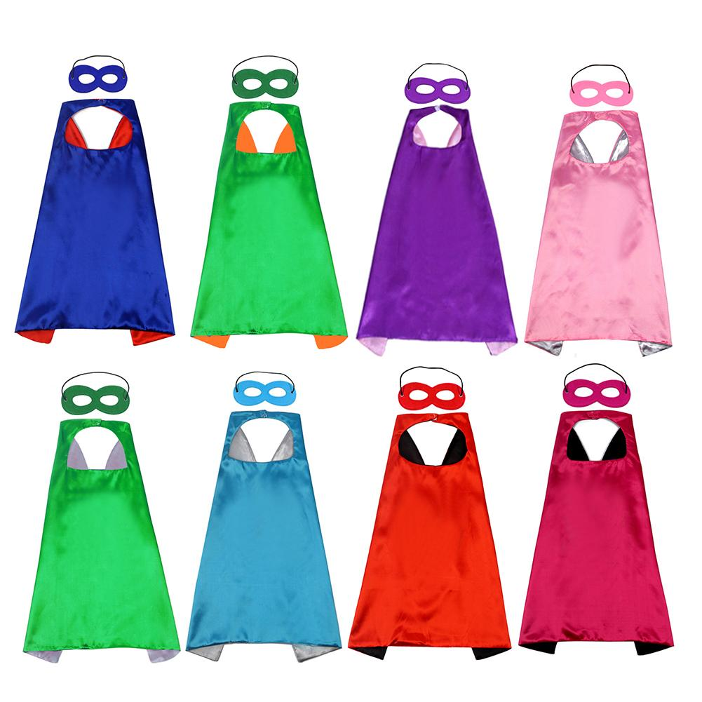 2Pcs/Set Kids Cloak + Eye Mask Solid Color Children Cape Cloak Eye Mask Party Props Cosplay Costume Clothing 70cm X 70cm
