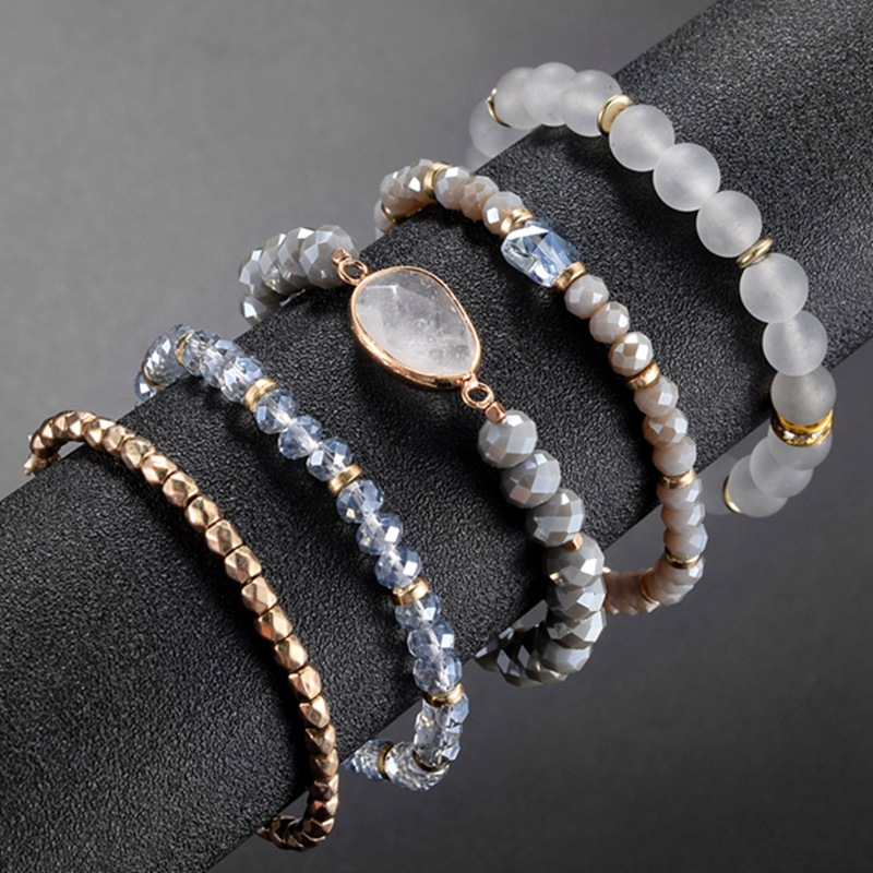 Bohemian Multilayer Bracelet Bangles Sets Natural 5Pcs Natural Crystal Stone Jewelry Stainless steel Chain For Women No Fade