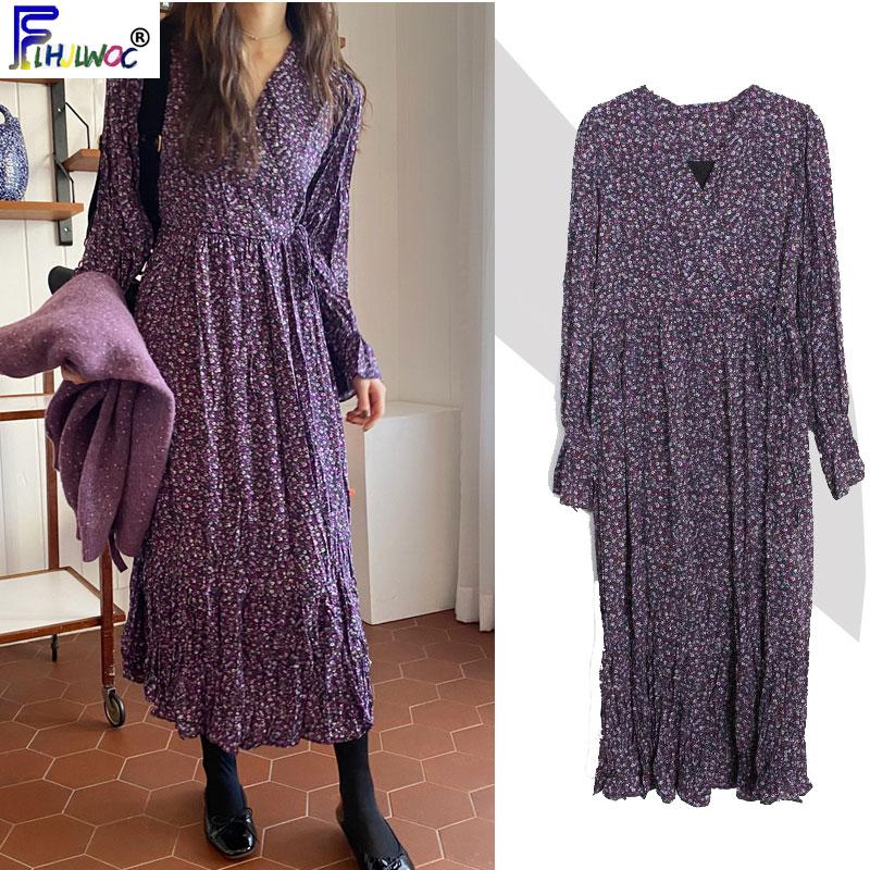2020 Spring Floral Printed Dresses Long Women Flare Sleeve A Line Temperament Lady Purple Date Korea Style Vintage Dress 1226