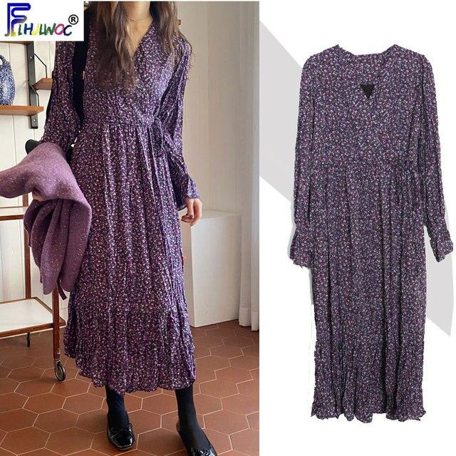 2020 wiosenna, w kwiatki sukienki z nadrukiem długie kobiety Flare rękawem linia Temperament pani fioletowy data Korea styl sukienka Vintage 1226