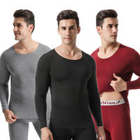 New Men's Seamless Thermal Underwear Plus Velvet Men's Cotton Suit Round Neck Autumn Clothing Pants Thermal Sleepwear