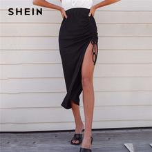 SHEIN Black Drawstring Ruched Detail Asymmetrical Hem Skirts Womens Summer Solid