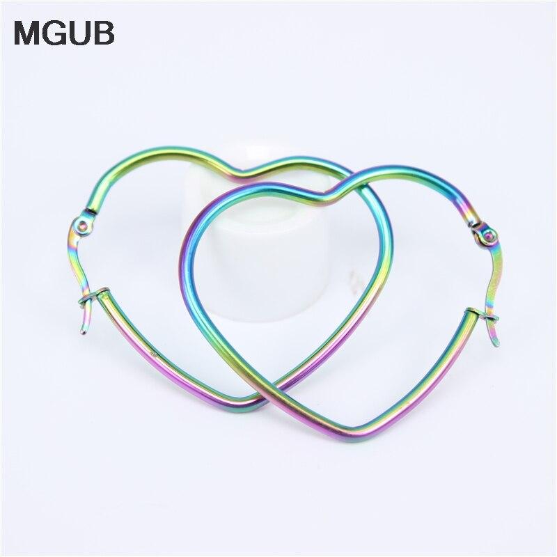Stainless Steel  Fashion Big Heart-shaped Hoop Earrings For Women  Girl's Hypoallergenic Jewelry Diameter 45-75MM LH849