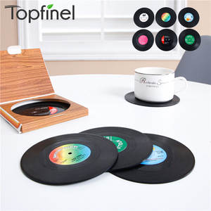 Topfinel 6 PCS Table Mats Drink Coaster Vinyl Record Table Placemats Creative Coffee Mug Cup Coasters Heat-resistant Nonslip Pad