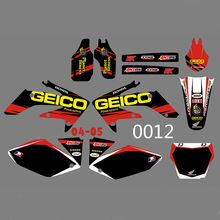 for HONDA CRF250 CRF250R 2004 2005 New Bull Full Graphics Decals Stickers Custom Number Name Glossy Bright Stickers Waterproof h2cnc graphics decal sticker for honda crf250r crf250 2014 2016