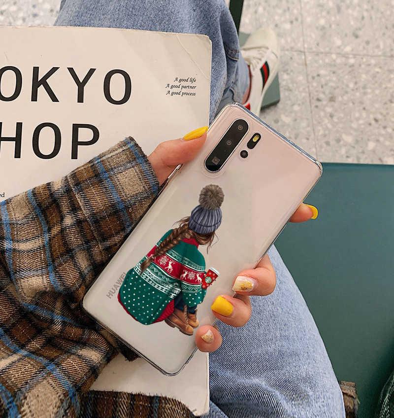 2019 yeni YearFashion noel kız TPU silikon telefon kılıfı için Huawei P8 P9 P10 P20 P30 Lite Pro Mate10 Mate 20 mate 30pro kapak