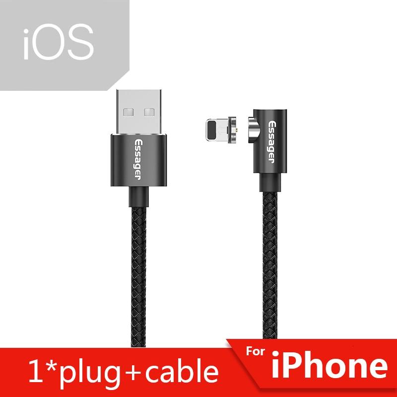 Магнитный Micro USB кабель Essager для iPhone samsung, кабель для быстрой зарядки и передачи данных, Магнитный зарядный кабель usb type-C для мобильного телефона - Цвет: Black iOS Cable