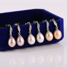 Genuine Natural Pearl Earrings for Women Freshwater Earring Ear Piercing Water Drop Real Pearl with Diamonds Earrings Jewelry top quality real natural freshwater 3 color water drop hoop pearl earrings for women