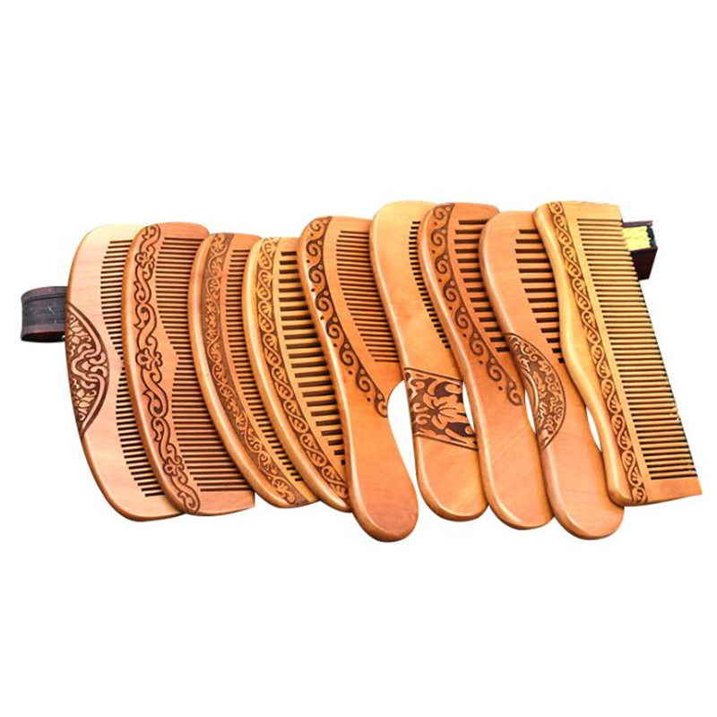 Handcrafted Peach Wood Comb Wooden Hair Comb 100% Natural Bamboo Comb-Anti Static Flower-Fine Tooth For Hair,Beard, Mustache