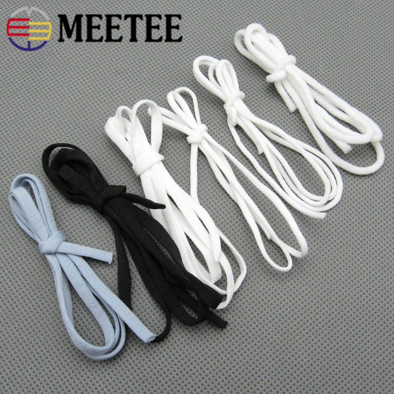 Meetee 23/50M 2-5mm Soft Mask With Cord Elastic Band Round Flat Elastic Rope Rubber Band Elastic Line DIY Sewing Accessory EB039