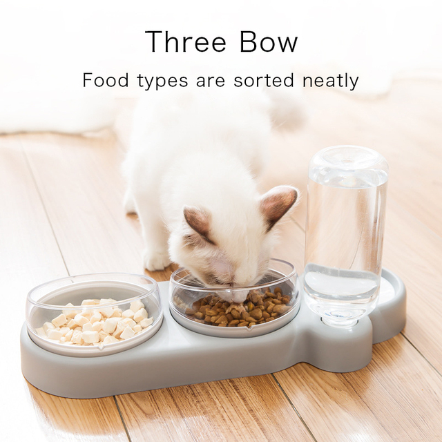 Pet Bowl Cat Double Bowls Automatic Water Container Food Dispenser Cat Feeder Food Bowls Drinking Raised Stand Dish for Cat Dog 2
