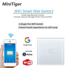 Minitiger EU/UK WIFI Smart Touch Switch APP Wireless Remote Light Wall Switch Crystal Glass Panel Works With Alexa / Google Home(China)
