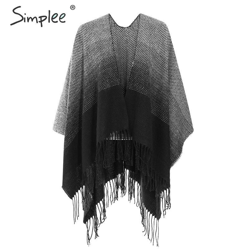 Simplee Casual Winter Warm Scarves Streetwear Geometric Tassel Women Scarf Shawls Elegant Office Ladies Chic Autumn Long Scarf