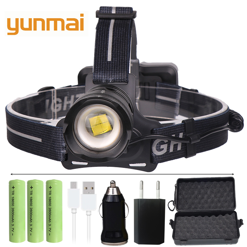 yunmai XHP70.2 Powerful LED headlamp fishing headlight 4292 lumen 3 modes Zoomable Head Torch flashlight Head lamp use 18650 1