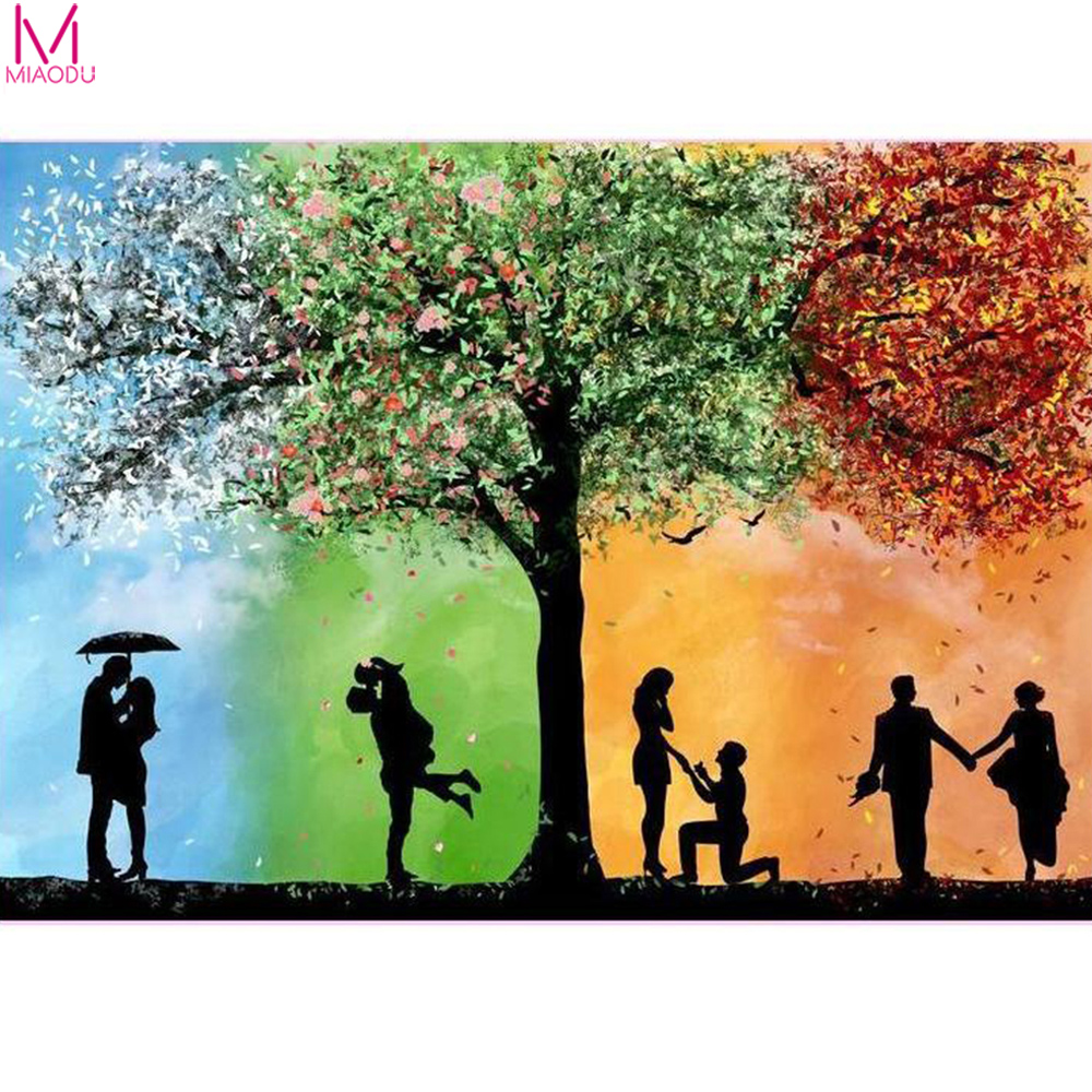 Full Drill 5D Diamond Painting Kit Love Romance Couple Tree 4 Seasons Square/Round Mosaic Birthday Home Decor Gifts Crafts