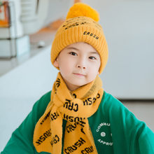 Baigu Autumn And Winter New Style Children Warm Suit Knitted Hat Big Kid English Lettered Cold Scarf Yarn Two-Piece Set(China)