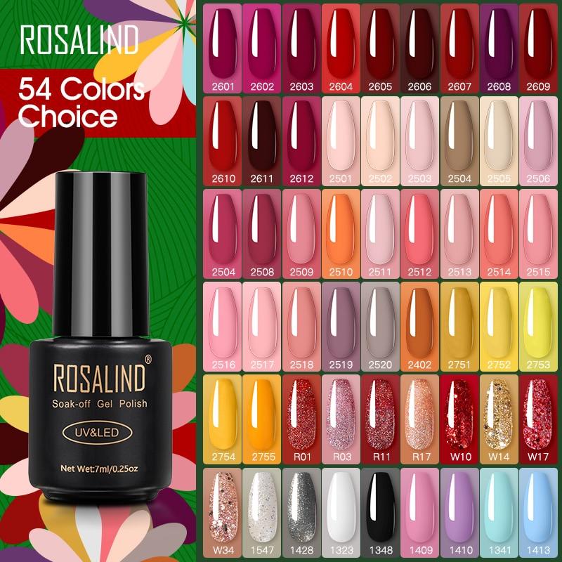 Гель-лак ROSALIND серии Red нюд для маникюра, полуперманентный светодиодный ель для ногтей, UV LED Soff Off гибридные Лаки