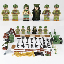 Weltkrieg 2 USA Army Wounded soldier Figures WW2 Military minifigs weapons Helmet Accessories building blocks toys for children