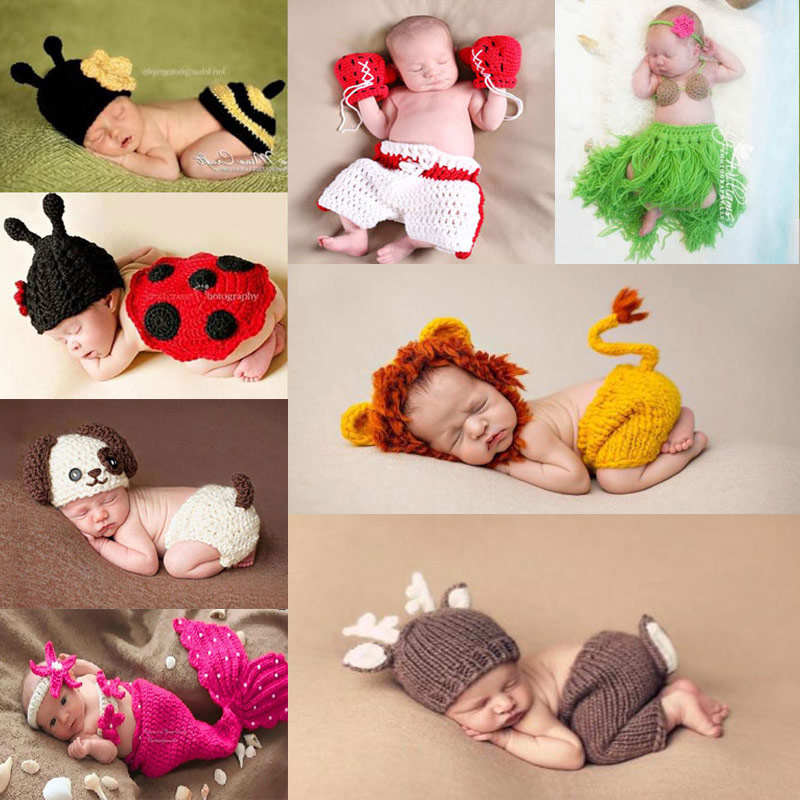 Newborn Photography Props Baby Boy Accessories Bebes Photoshoot    Prop Infantil Bebe Costume Clothing Hand Knitted Clothes