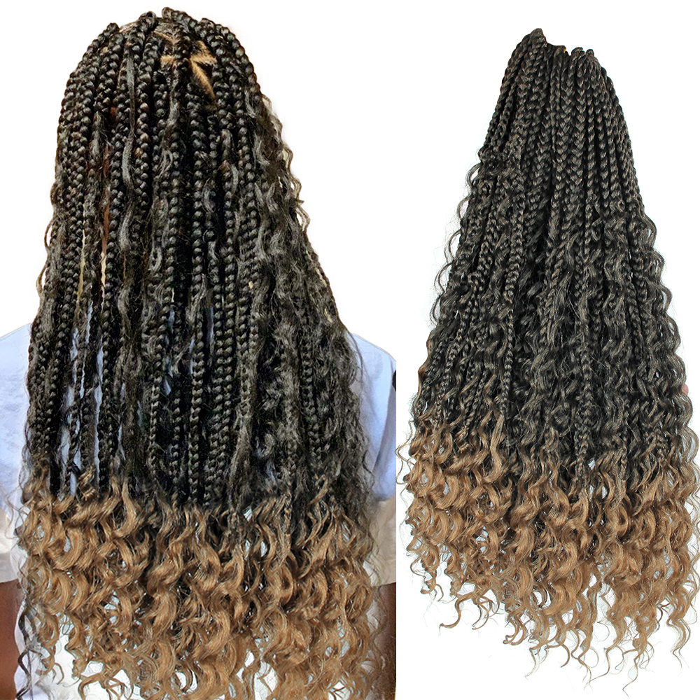 YxCheris Synthetic Crochet Hair Messy Goddess Box Braids Hair With Curly Ends 22 Inches Bohemian Ombre Braiding Hair Extension