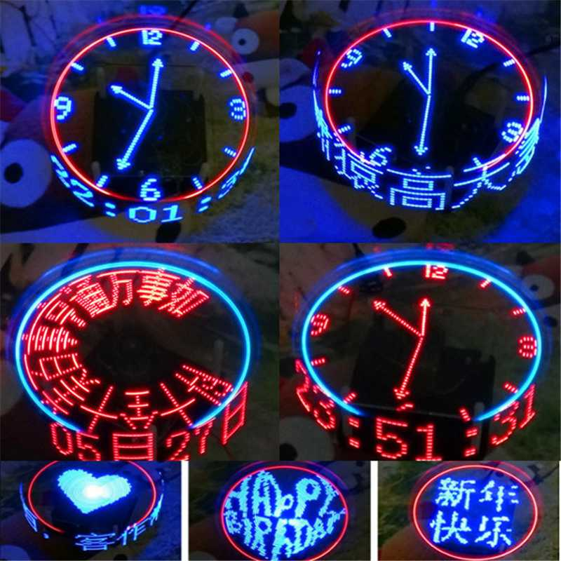 DIY Rotating LED Kit POV Soldering Training Kit Upgraded Version Led Accessories Display Digital Clock Memory Mode