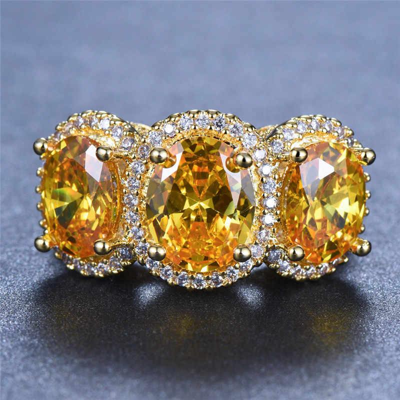 Luxo Fêmea Grande Anel de Ouro Amarelo Anel Do Vintage Grande Pedra Peridoto Amarelo Roxo Amor Promessa Anéis de Noivado Para As Mulheres