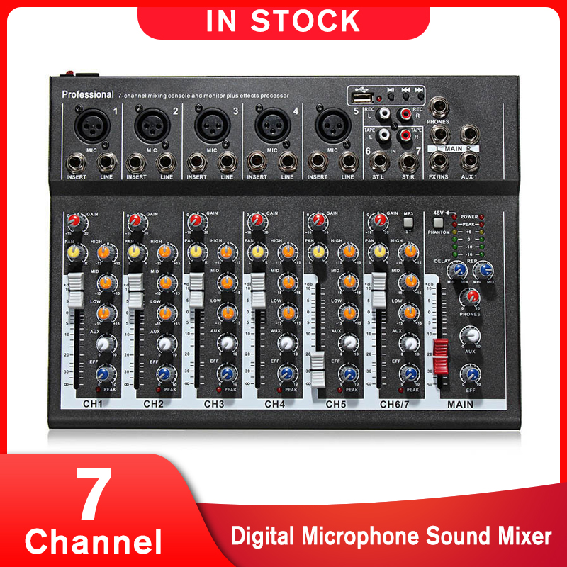 LEORY 7 Channel Digital Microphone Sound Mixer Console 48V Phantom Power Professional Karaoke Audio Mixer Amplifier With USB