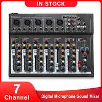 Leory 7 canais microfone digital som mixer console 48 v phantom power profissional karaoke amplificador de áudio mixer com usb