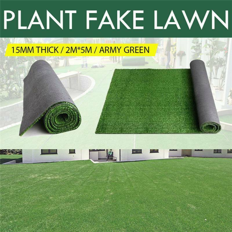 2x5M Artificial Synthetic Fake Grass Turf Plastic Green Plant Lawn Garden Decor