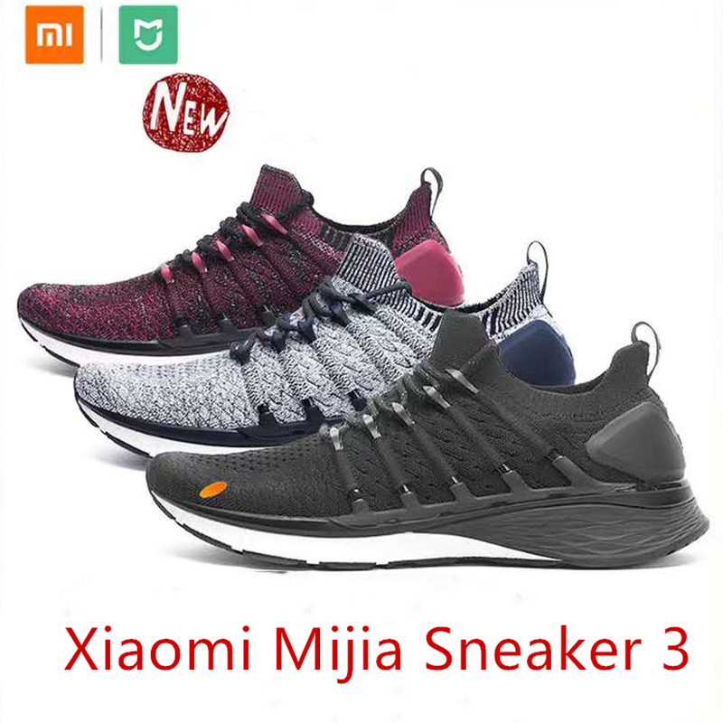 Hot Xiaomi Mijia Sneaker 3 Mens Running Shoes 3 Uni-moulding 2.0 Fishbone Lock System Elastic Knitting Vamp Shock-absorbing Sole