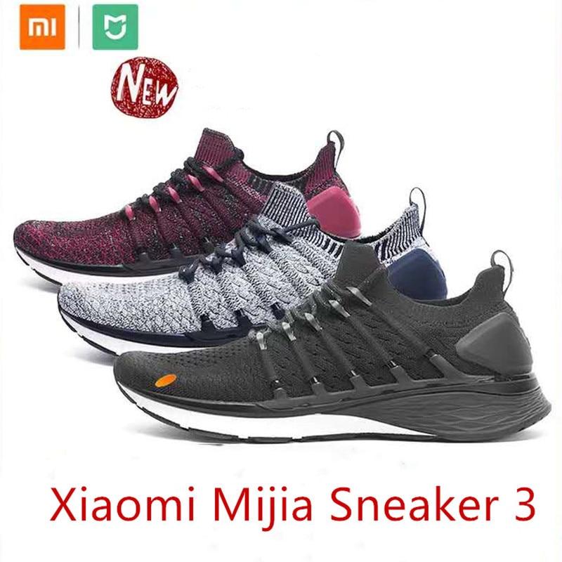 Hot Xiaomi Mijia Sneaker 3 Mens Running Shoes 3 Uni-moulding 2.0 Fishbone Lock System Elastic Knitting Vamp Shock-absorbing Sole