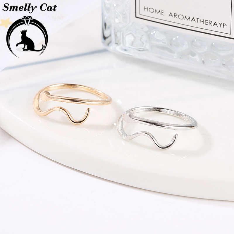 Chat malodorant nouveaux accessoires Simple serpent anneau ouverture eau ondulation amoureux anneau cadeau pour les femmes