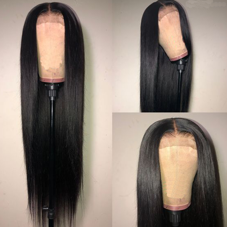 4x4 Lace Closure Front Wig Human Hair Wigs Straight Brazilian Human Hair Wigs For Black Women Natural Color Non-Remy Ms Love
