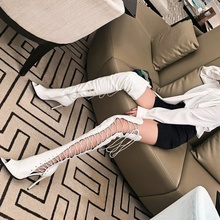 High Heel Hollow Female Summer Boots High Tube Strap Long Tube Net Boots Cool Boots Night Club Sandals Fish Mouth