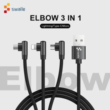 Swalle 3 in 1 90 Degree USB Data Charger for Samsung S5 S6 S7 A3 A5 J5 J7 Fast Charger Data USB wire cord usb C Cable(China)