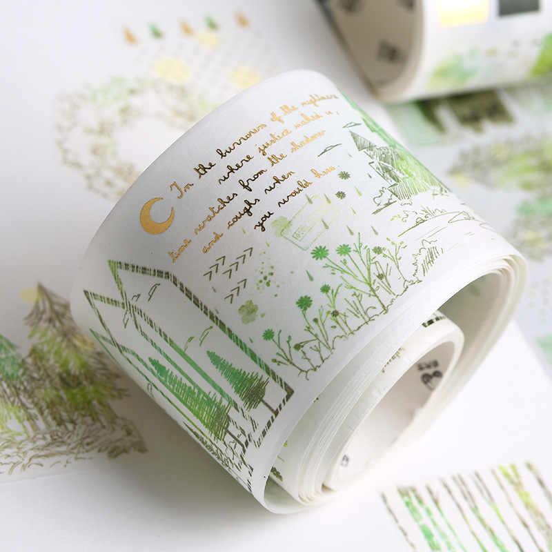 Serie de Paisaje de plantas bala diario Gold Washi Tape Linda cinta adhesiva decorativa DIY Scrapbooking Sticker artículos de papelería con etiquetas