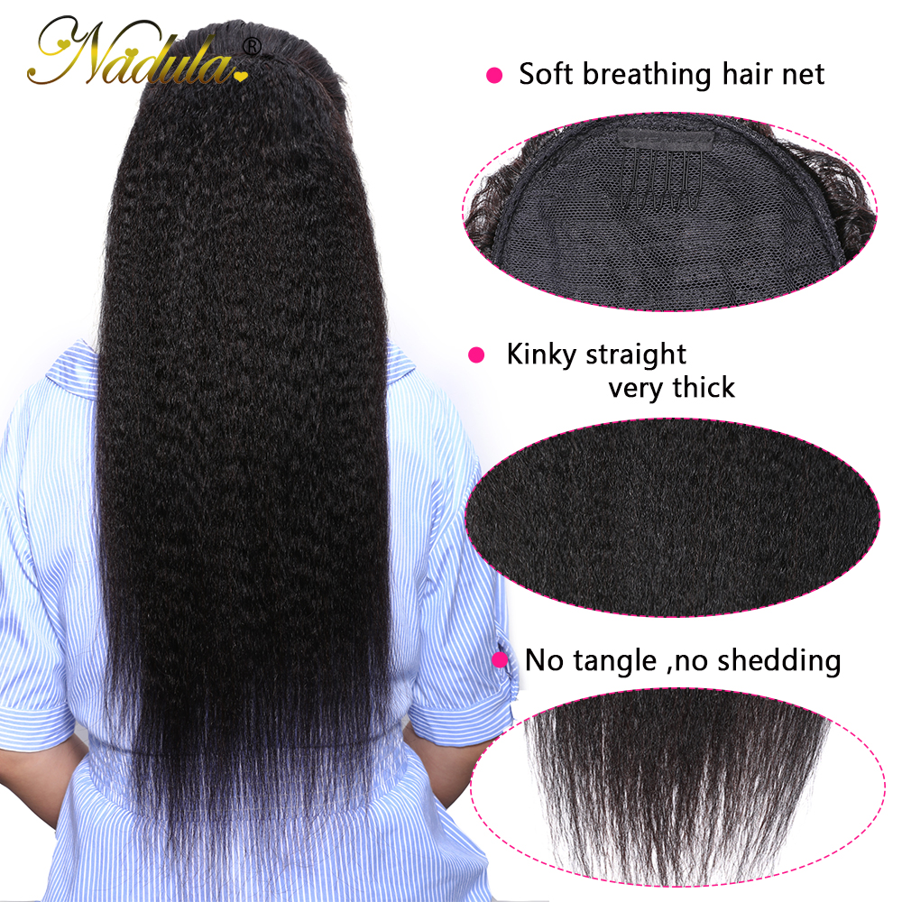 Nadula Hair 10-24inch Kinky Straight Hair Ponytail 1 Pieces Natural Black Clip In Ponytails Drawstring 100%  4