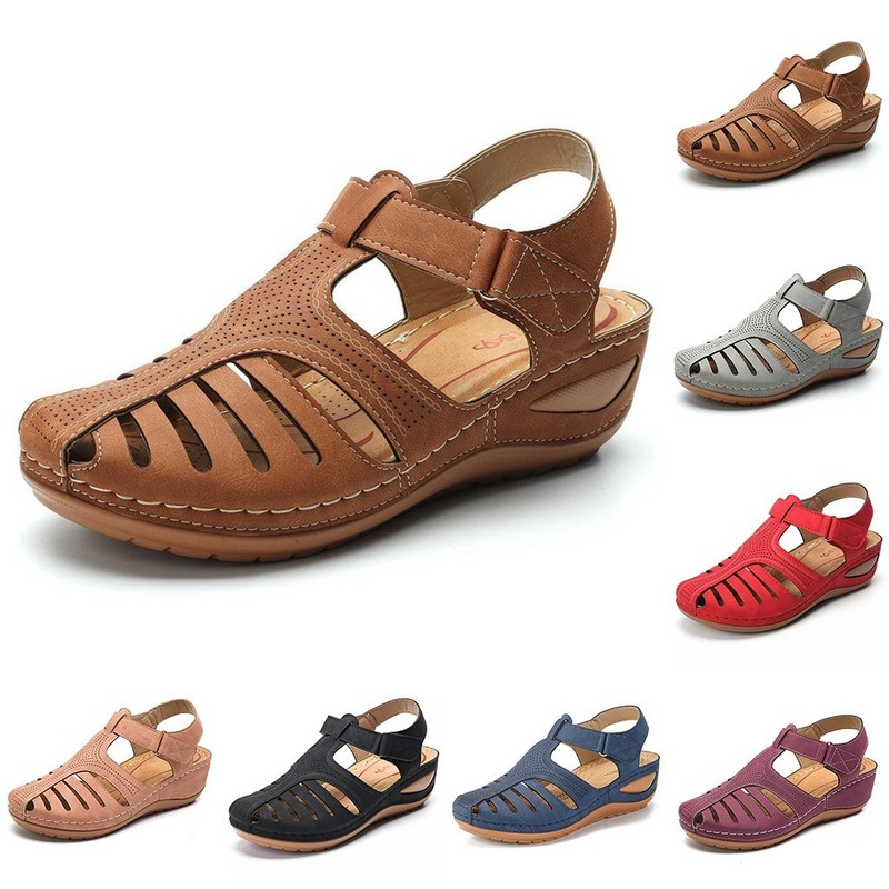 Women's Sandals Summer Ladies Girls Comfortable Ankle Hollow Round Toe Sandals Female Soft Beach Sole Shoes Plus Size C40#
